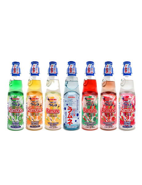 Japanese Ramune 200ml Set of 7 Flavours Original | Melon | Strawberry | Lychee | Orange | Water Melon | Yuzu ラムネ 7種類