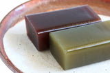 Red bean and matcha green tea yokan