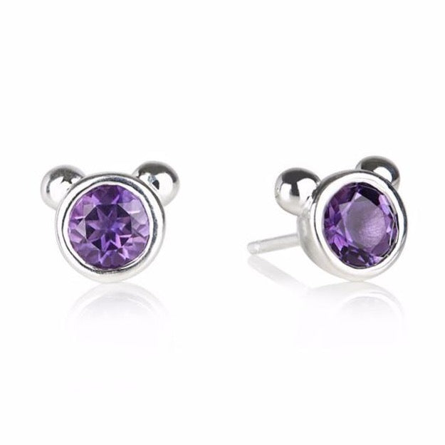 stone earrings rectangular amethyst square