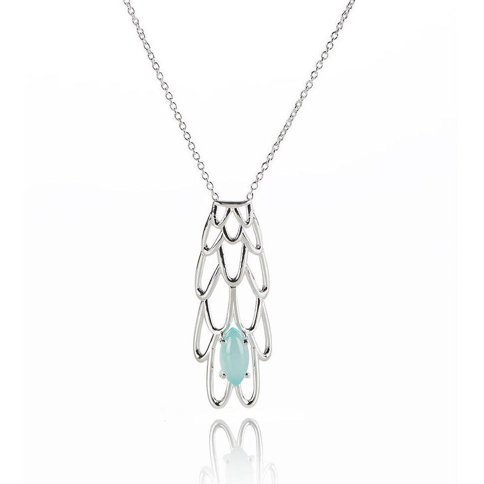 BLUE CHALCEDONY SIREN NECKLACE - SILVER