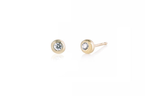 Diamonds stud earrings - 14k gold, white diamonds