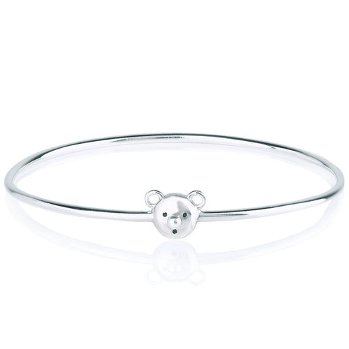 Bear face bracelet - Sterling silver, 18k yellow gold