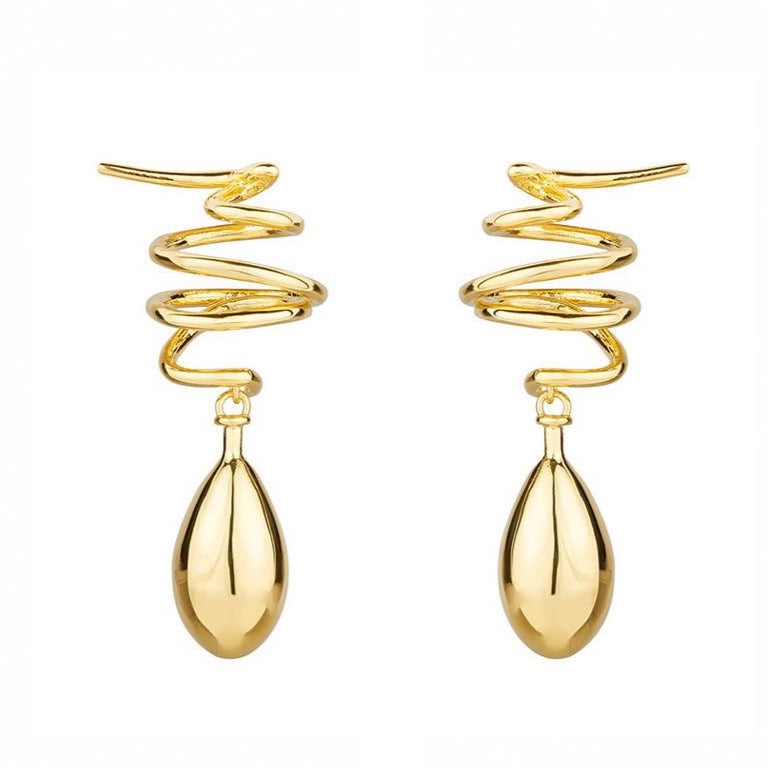 COIL DROP EARRINGS - GOLD