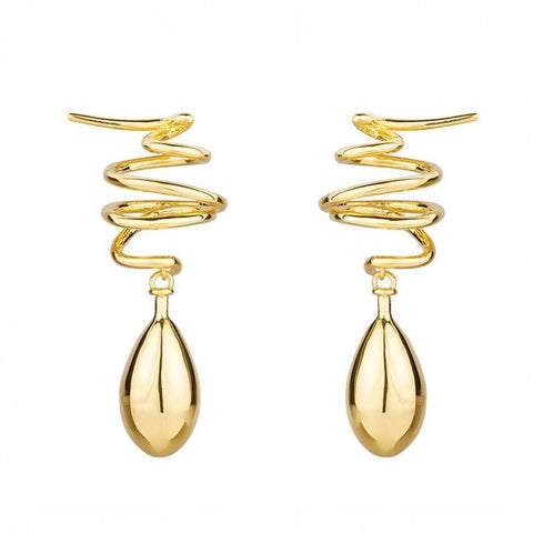 SIREN CURVED STUD EARRINGS - GOLD
