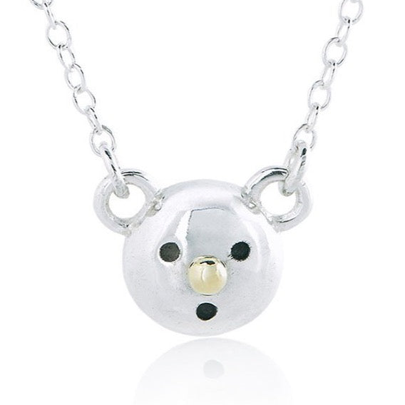 Gold nose bear necklace - Sterling silver, 18k yellow gold