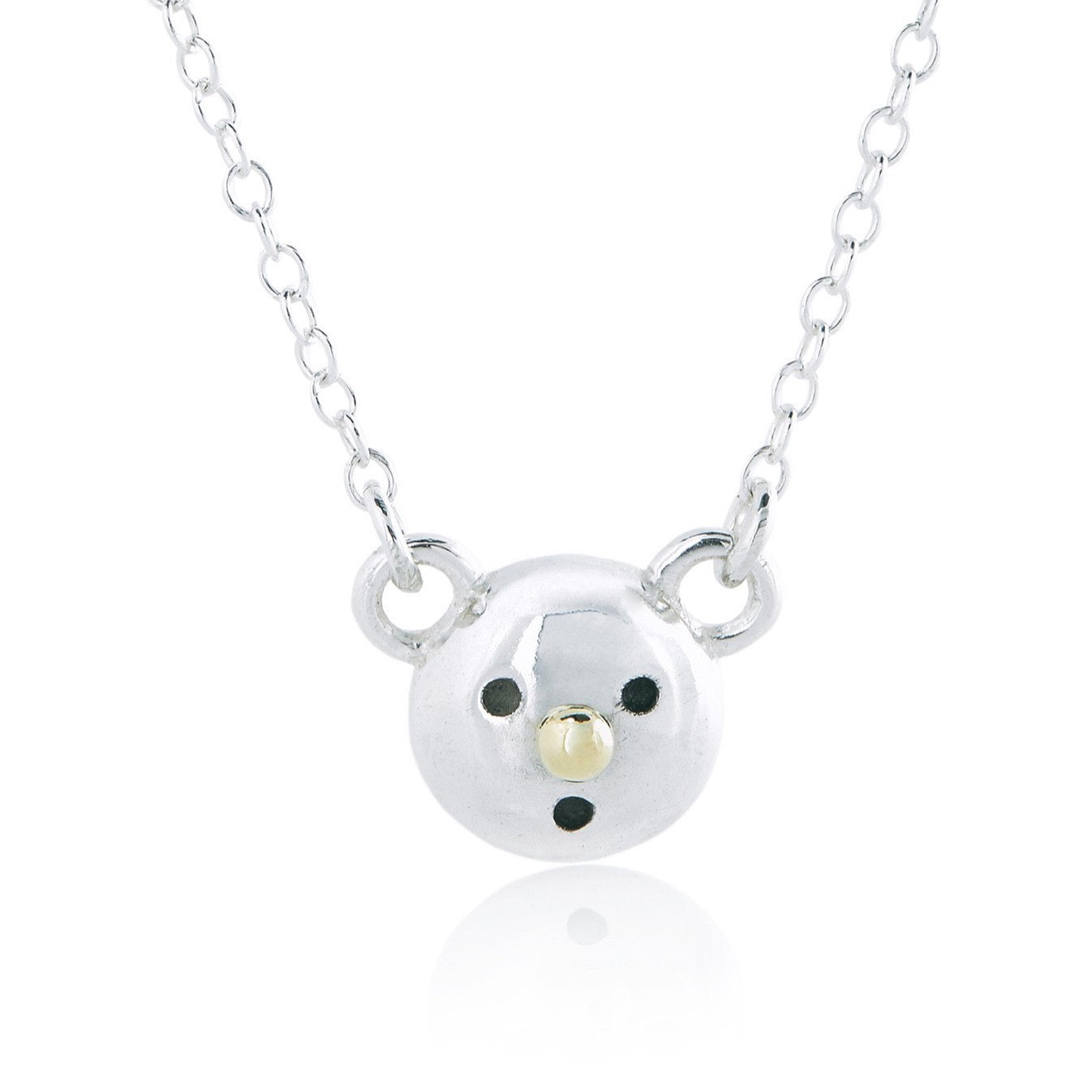 GOLD NOSE BEAR NECKLACE - SILVER/18K YELLOW GOLD/BLACK