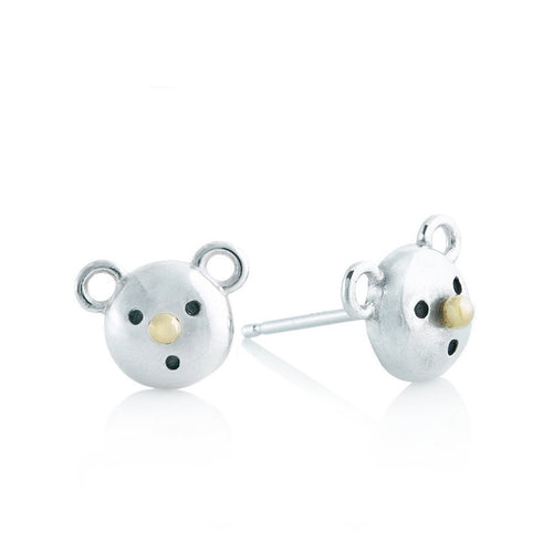 Gold nose bear earrings - Sterling silver, 18k yellow gold