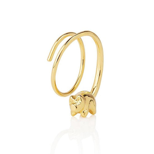 Piglet single earrings in 18k gold plated sterling silver
