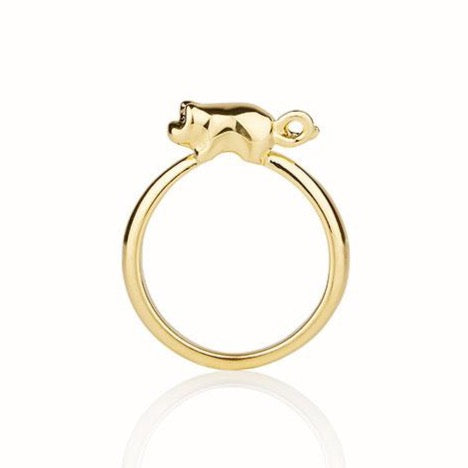 Piglet ring in 18k yellow gold plated sterling silver, handmade in New York