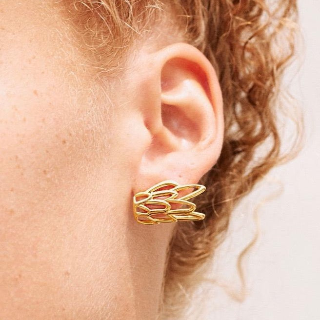 Siren fish scale patterned stud earrings, handcrafted in New York