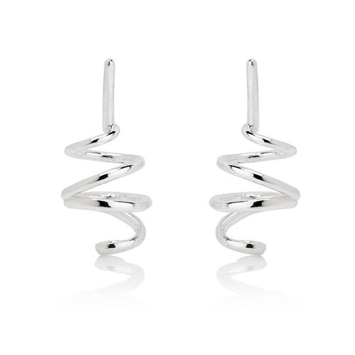POP COIL EARRINGS - SILVER