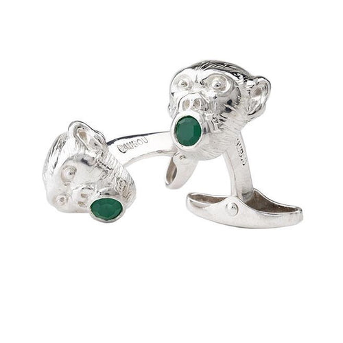 Monkey face cufflinks - Silver