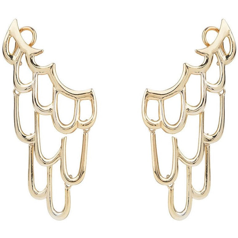 Siren ear cuff - Statment earrings, gold plated silver