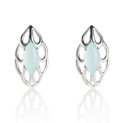 Blue gemstone stud earrings in sterling silver