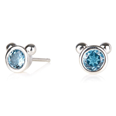 BLUE CHALCEDONY SIREN STUD EARRINGS - SILVER