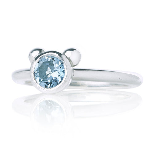 STRIPE BLUE TOPAZ BEAR RING - SILVER/BLACK