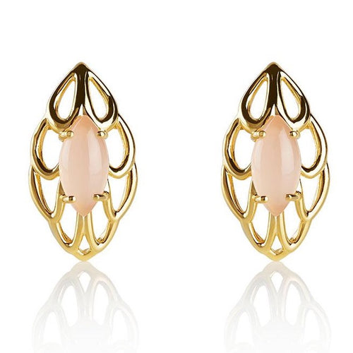 Pink gemstone stud earrings in 18k gold plated sterling silver
