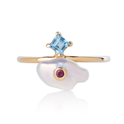 princess of whales ring in 14k yellow gold, ruby, blue topaz