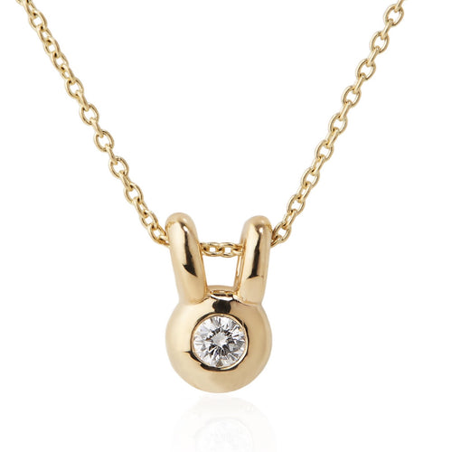 14k yellow gold lucky rabbit necklace with diamond