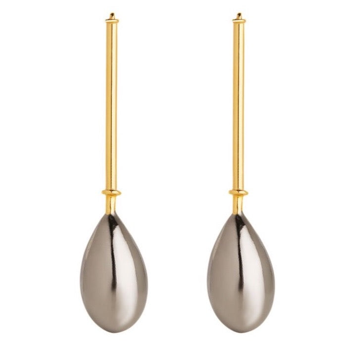RAINDROP EARRINGS - GOLD/BLACK