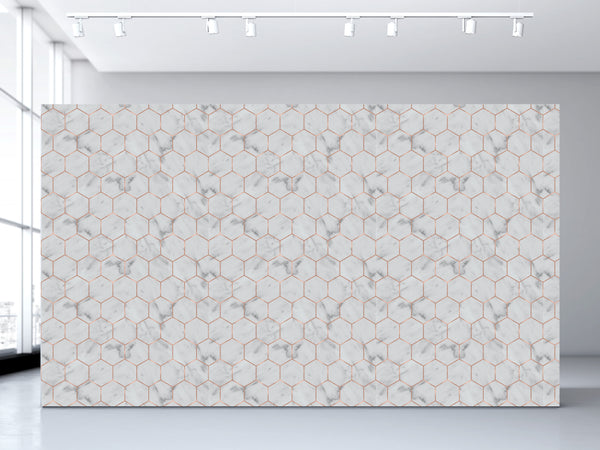 Marble Hexagon Wallpaper Olivia Poppy