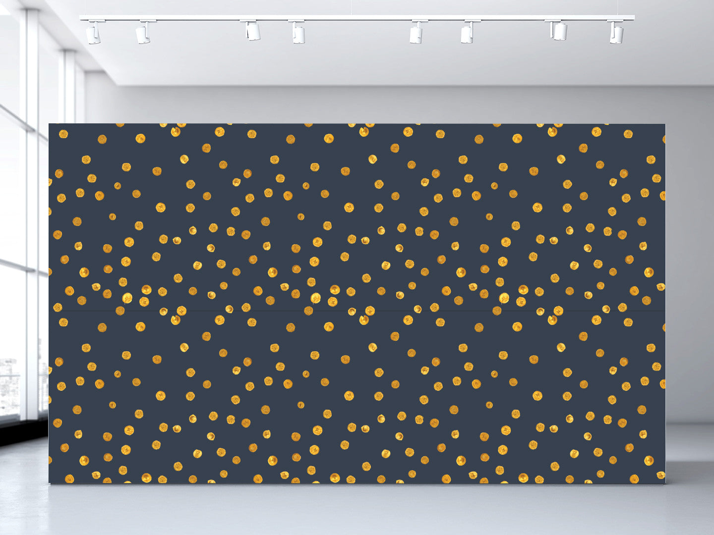 Navy + Gold Dots Wallpaper