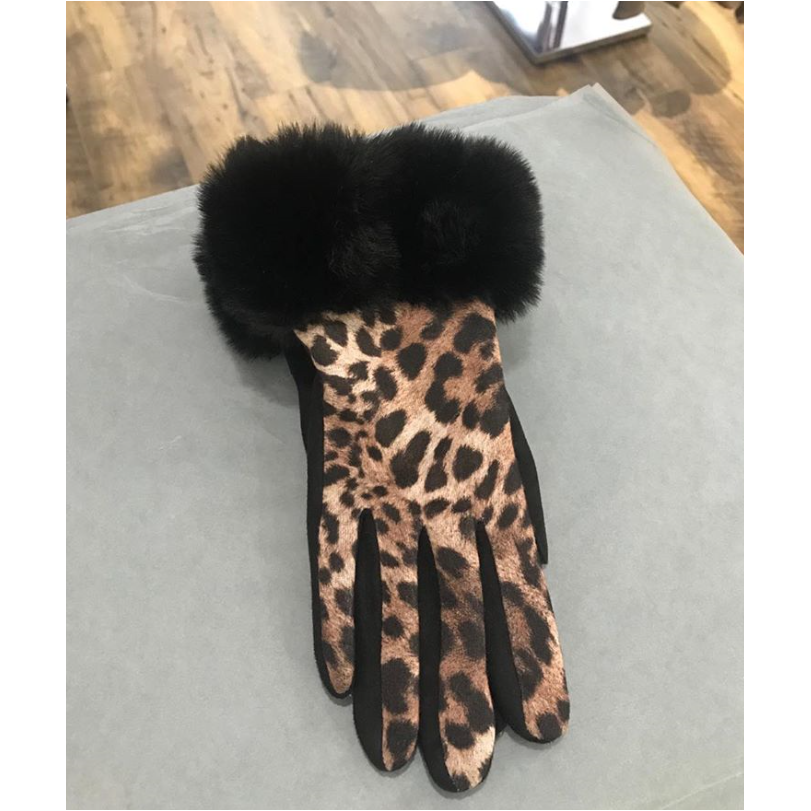 Animal Print Faux Fur Trim Gloves
