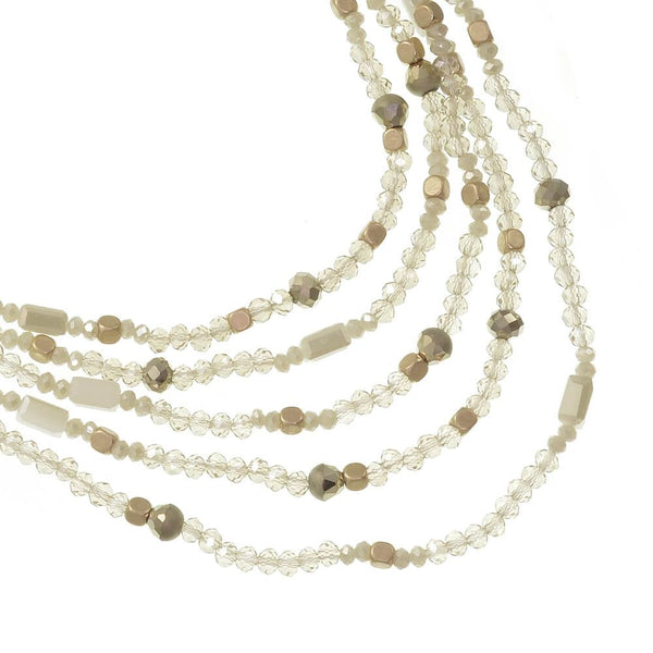 Envy Necklace with Cream Beads & White & Gold Tone Aurora Borealis Crystals