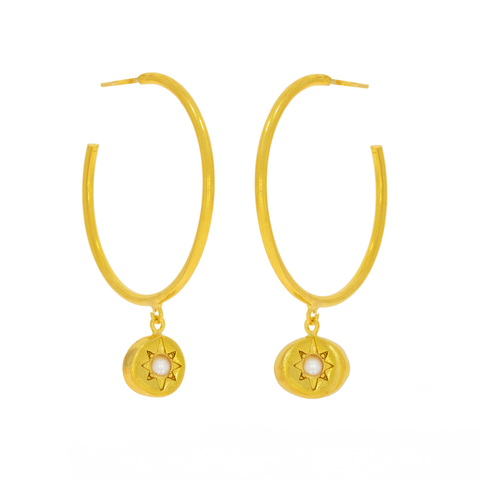 Vega Gold Star Hoop Earrings with Pearl Beads