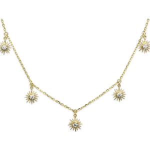 Calvados CZ Sunburst Charm Gold Necklace