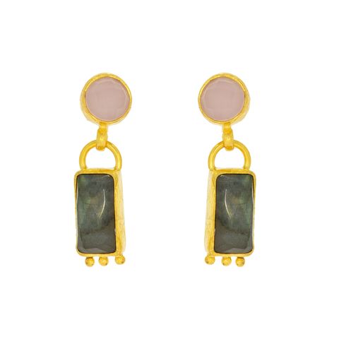 Nima Rose Quartz Circle and Labradorite Rectangle Drop Earrings