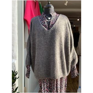 V Neck Heavy Knit Jumper