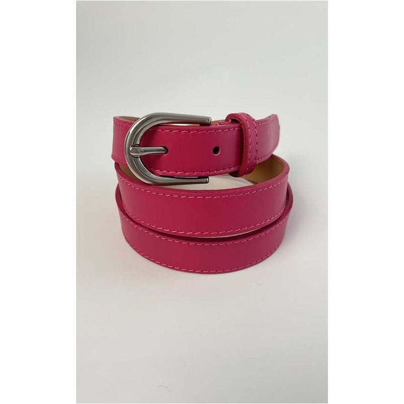 Luella Ladies Belt - Slim Leather Belt Hot Pink