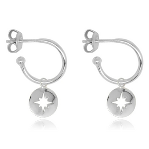 Mack Silver Starburst Charm Hoop Earrings