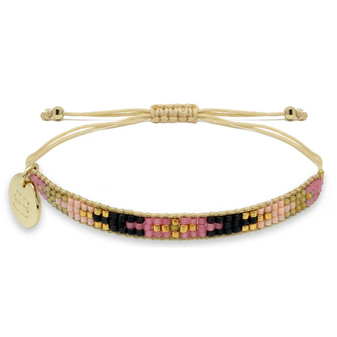 Steamroller Pink & Black Beaded Friendship Bracelet