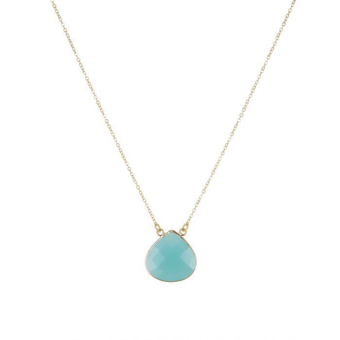 Acapulco Teardrop Gemstone Necklace Chalcedony