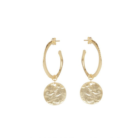 Gold Hoop and Coin Earrings