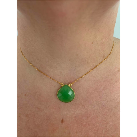 Acapulco Teardrop Gemstone Necklace - Green Jade