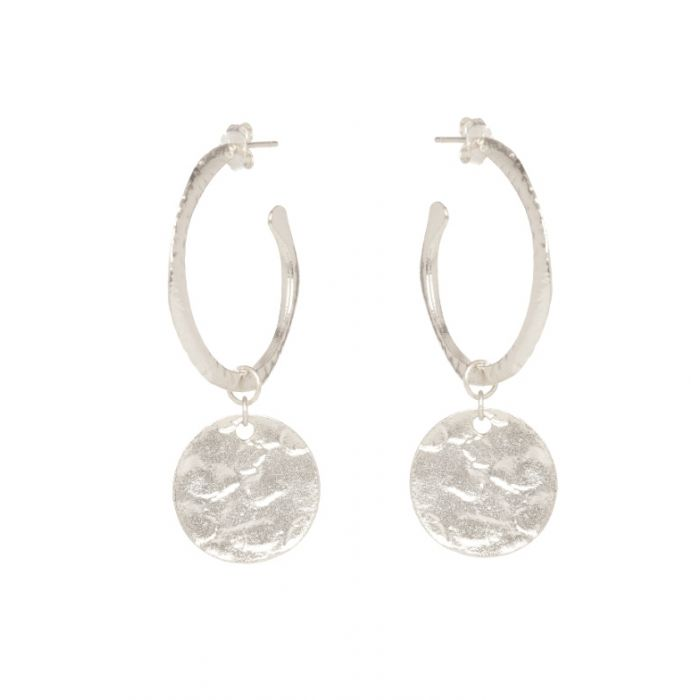 Hoop and Coin Earrings - Silver