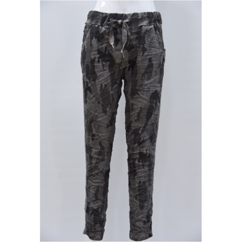 Camouflage Denim Joggers with Silver Side Stripe