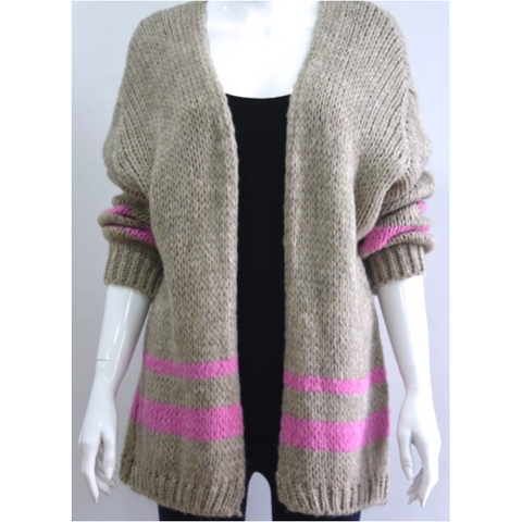 Longer Line Wool Blend Cardigan with Contrasting Stripe