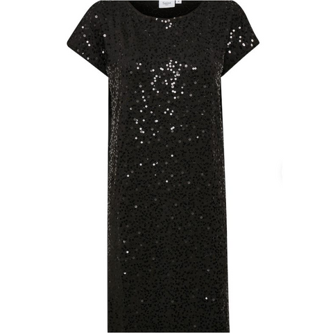 Black Sequin Jersey Dress