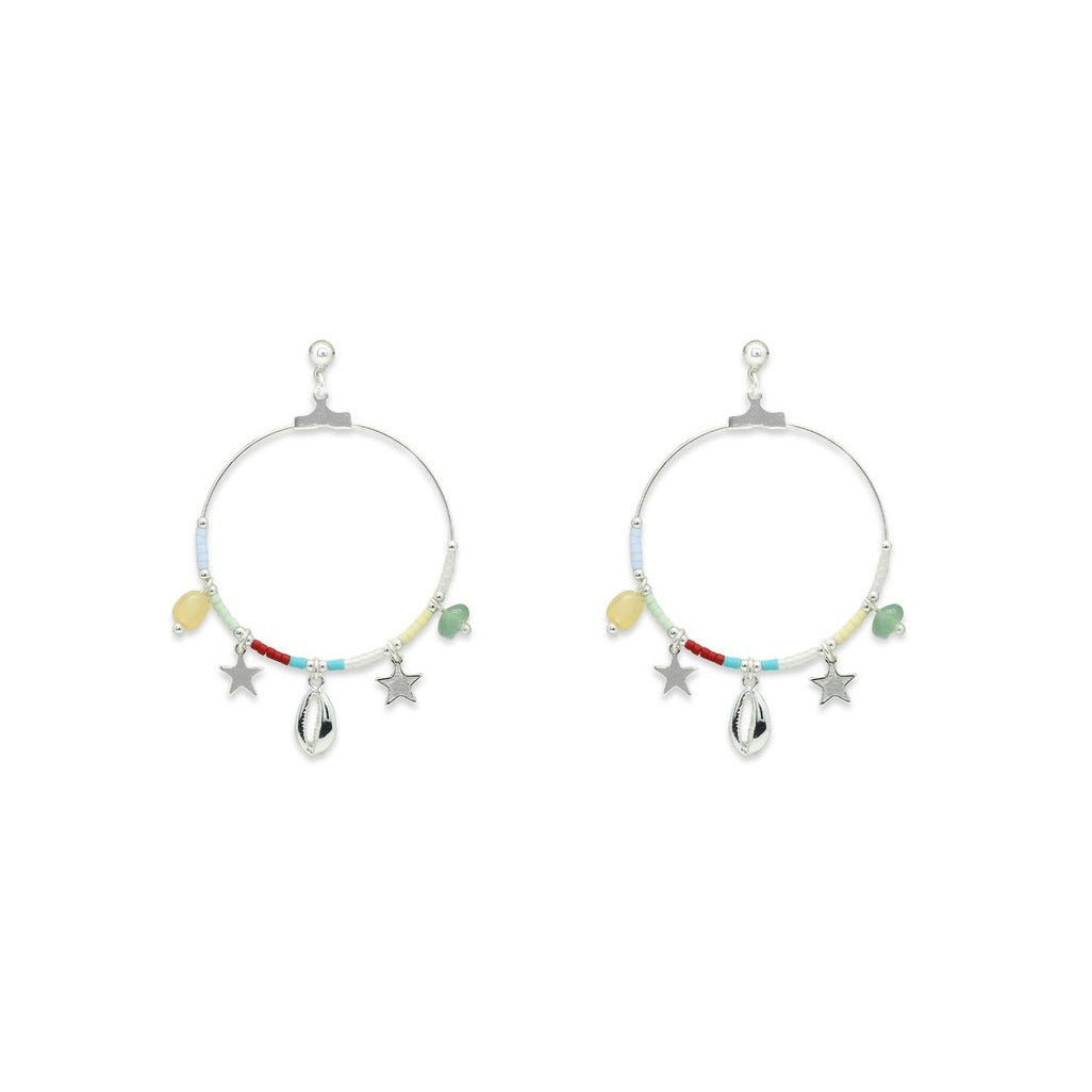 Pequi Multi Charm Hoop Earrings