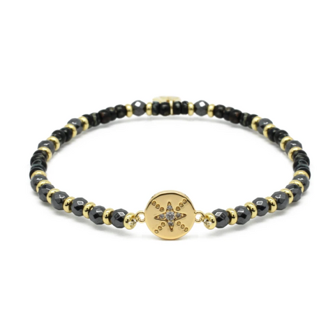 Carimba Black and Gold Stretch Bracelet