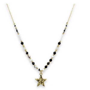 Chandra Black and Gold Charm Necklace