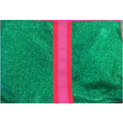Glitter Bag - Green with Pink