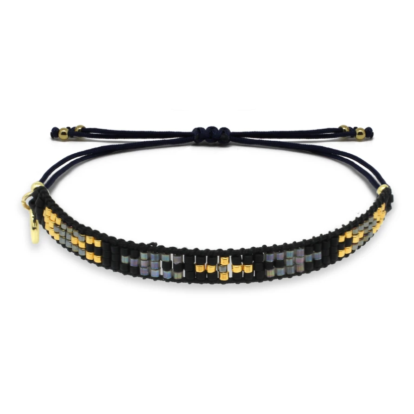Creole Black and Gold Beaded Friendship Bracelet