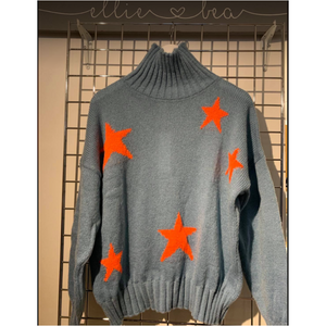 Ellie and Bea Ladies Funnel Neck Star Knit - Pale Denim with Orange Stars