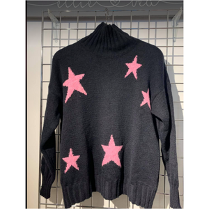 Ellie and Bea Ladies Funnel Neck Star Knit - Navy with Pink Stars