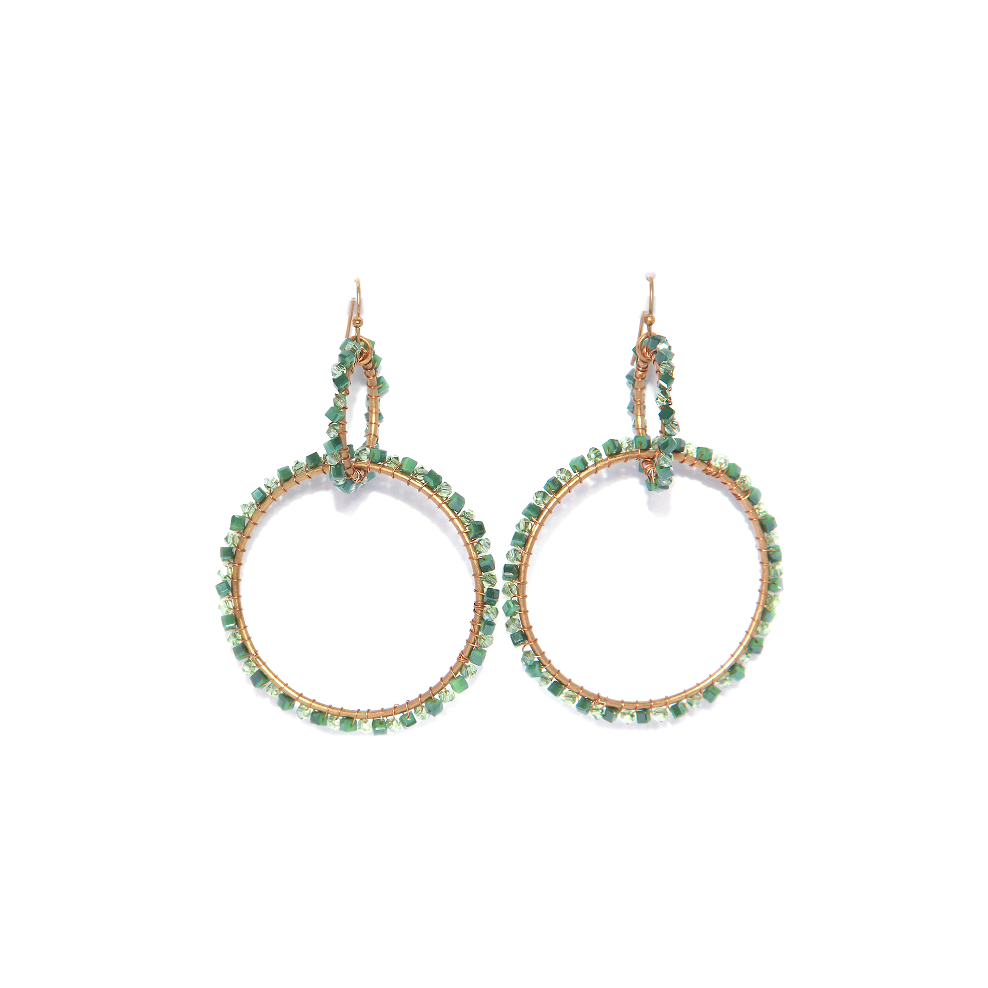 Envy Double Hoop Beaded Earrings - Green